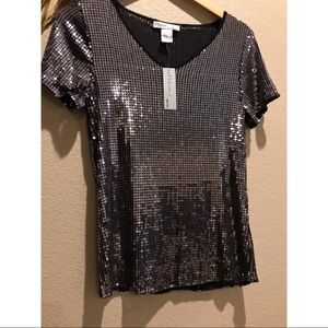 Tops - Warren by WD NY Silver Metallic Circles Sequin Top